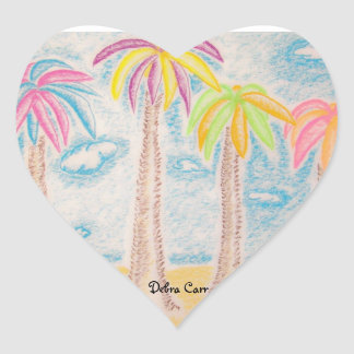Colorful Palms-heart sticker