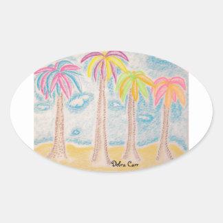 Colorful Palms-oval sticker