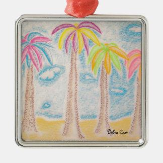 Colorful Palms-premium square ornament