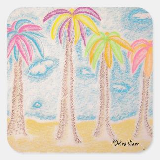 Colorful Palms-square sticker