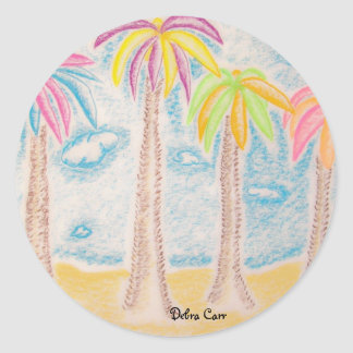 Colorful Palms-sticker Classic Round Sticker