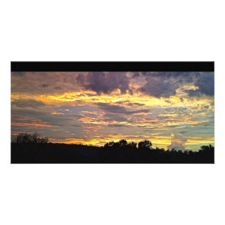 Colorful Panoramic Sunset Photo Card