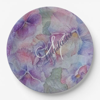 COLORFUL PANSIES GALORE MONOGRAM PARTY PAPER PLATE