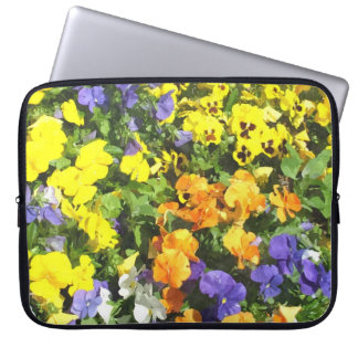 Colorful pansy flowers, yellow, orange, purple... computer sleeve