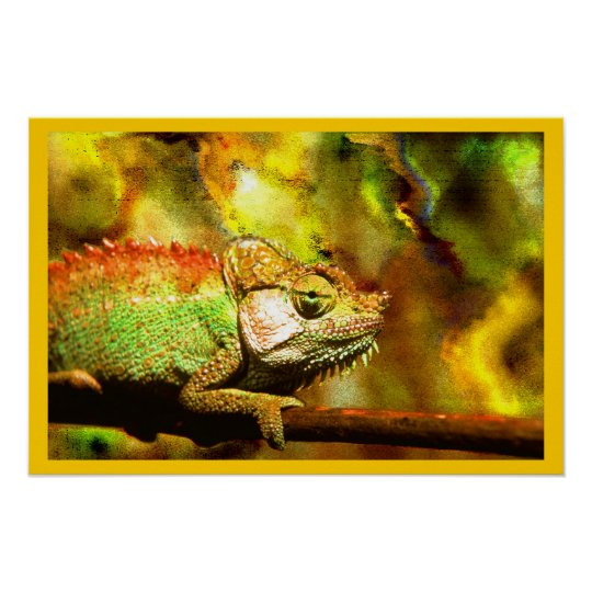 Colorful Panther Chameleon Digital Aft Poster