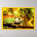 Colorful Panther Chameleon Digital Aft Posters