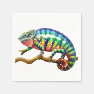 Colorful Panther Chameleon Paper Napkins