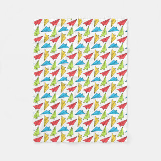 Colorful Paper Airplanes Pattern Fleece Blanket