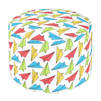 Colorful Paper Airplanes Pattern Pouf