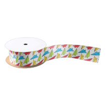 Colorful Paper Airplanes Pattern Satin Ribbon