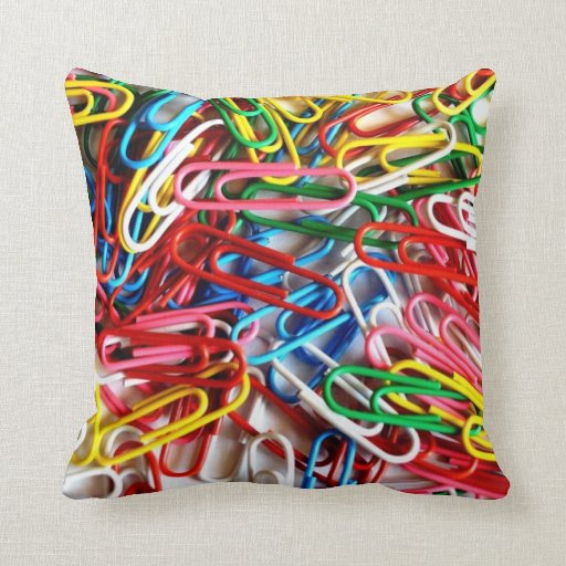 Colorful Paper Clips Office Supplies Gifts Throw Pillows