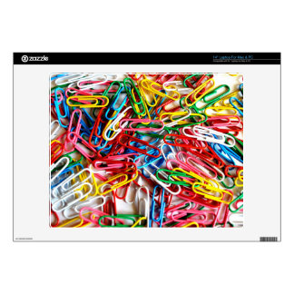 """Colorful paper clips on white background. 14"""" laptop decal"""
