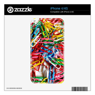 Colorful paper clips on white background. iPhone 4 decals