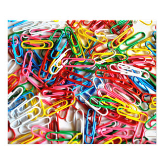 Colorful paper clips on white background. photo print