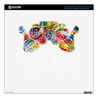 Colorful paper clips on white background. PS3 controller skins