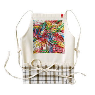 Colorful paper clips on white background. zazzle HEART apron
