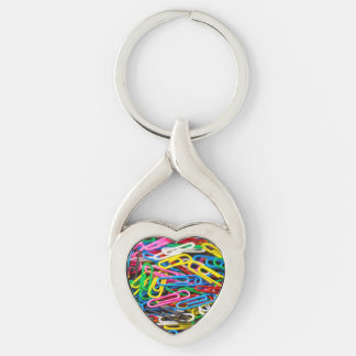 Colorful paper clips Silver-Colored Heart-Shaped metal keychain