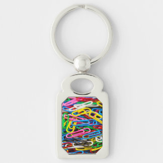 Colorful paper clips Silver-Colored rectangular metal keychain