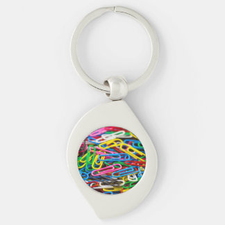 Colorful paper clips Silver-Colored swirl metal keychain