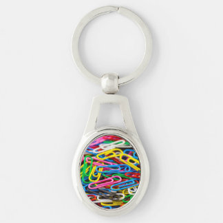 Colorful paper clips Silver-Colored oval metal keychain