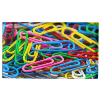 Colorful paper clips place card holder