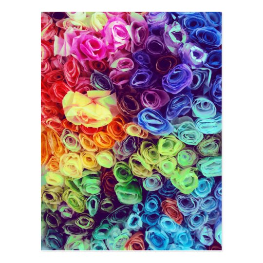 Colorful Paper Flowers Photo Postcard