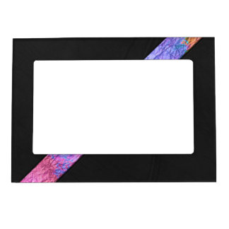 Colorful paper watercolor stripe black leather magnetic picture frame