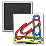 Colorful Paperclips 2 Inch Square Magnet