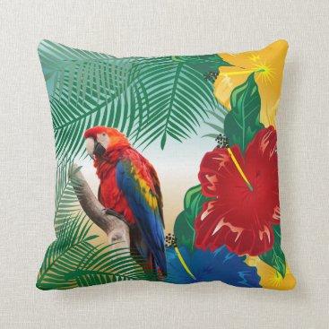 Beach Themed Colorful Parakeet on a Tropical Beach Design Throw Pillow