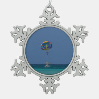 Colorful Parasailing Snowflake Pewter Christmas Ornament