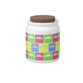 Colorful parasol pattern candy jars
