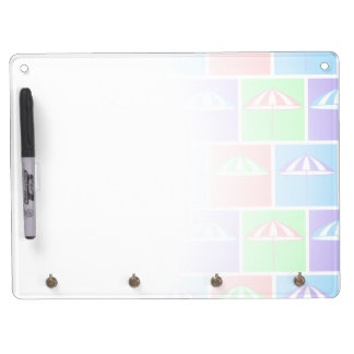 Colorful parasol pattern dry erase board with keychain holder