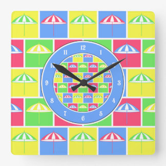 Colorful parasol pattern square wall clock