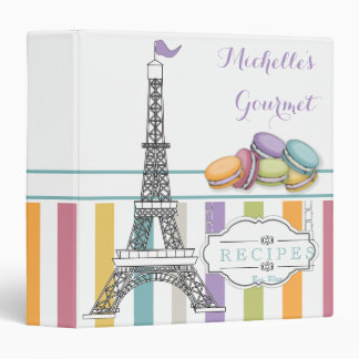 Colorful Paris Macaron Eiffel Tower Monogram Binder