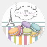 Colorful Paris Macaron Eiffel Tower Monogram Classic Round Sticker
