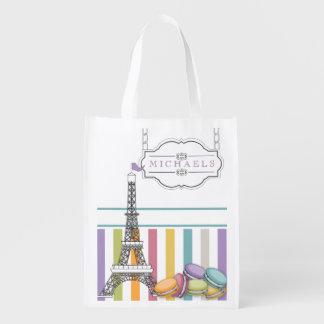 Colorful Paris Macaron Eiffel Tower Monogram Reusable Grocery Bag
