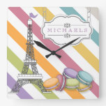 Colorful Paris Macaron Eiffel Tower Monogram Square Wall Clock