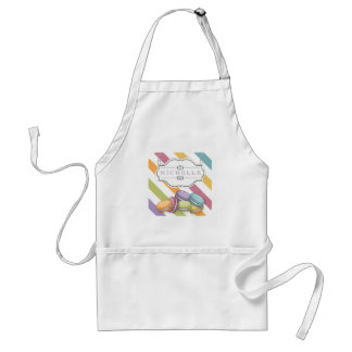 Colorful Paris Macarons Eiffel Tower Monogram Adult Apron