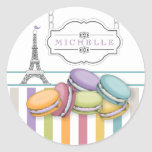 Colorful Paris Macarons Eiffel Tower Monogram Classic Round Sticker at Zazzle