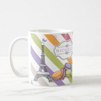 Colorful Paris Macarons Eiffel Tower Monogram Classic White Coffee Mug