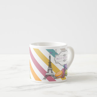 Colorful Paris Macarons Eiffel Tower Monogram Espresso Cup