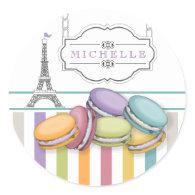 Colorful Paris Macarons Eiffel Tower Monogram Classic Round Sticker