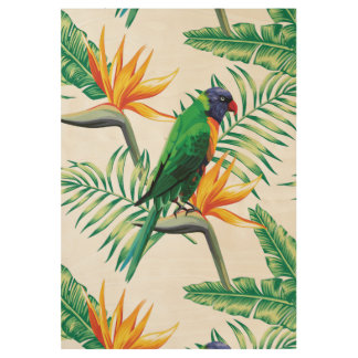 Colorful Parrot And Bird Of Paradise Wood Poster