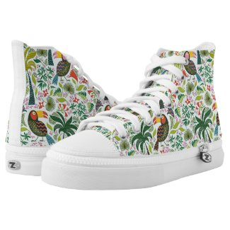 Colorful Parrot And Flowers Printed Shoes