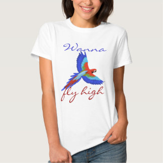 Colorful parrot bird flying cute girly tee shirt