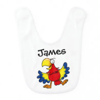 colorful parrot bird - just add name baby bib