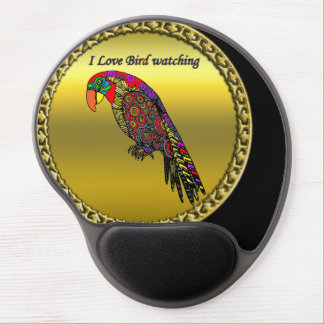 Colorful Parrots in abstract yellow red green blue Gel Mouse Pad