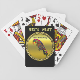 Colorful Parrots in abstract yellow red green blue Playing Cards