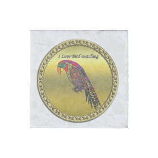 Colorful Parrots in abstract yellow red green blue Stone Magnet
