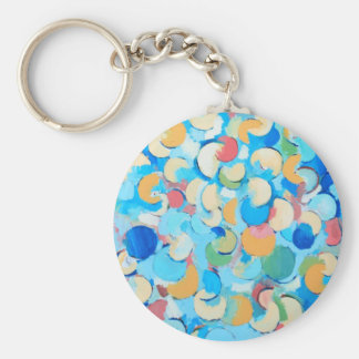 Colorful Partial Eclipses circular cubism Key Chain